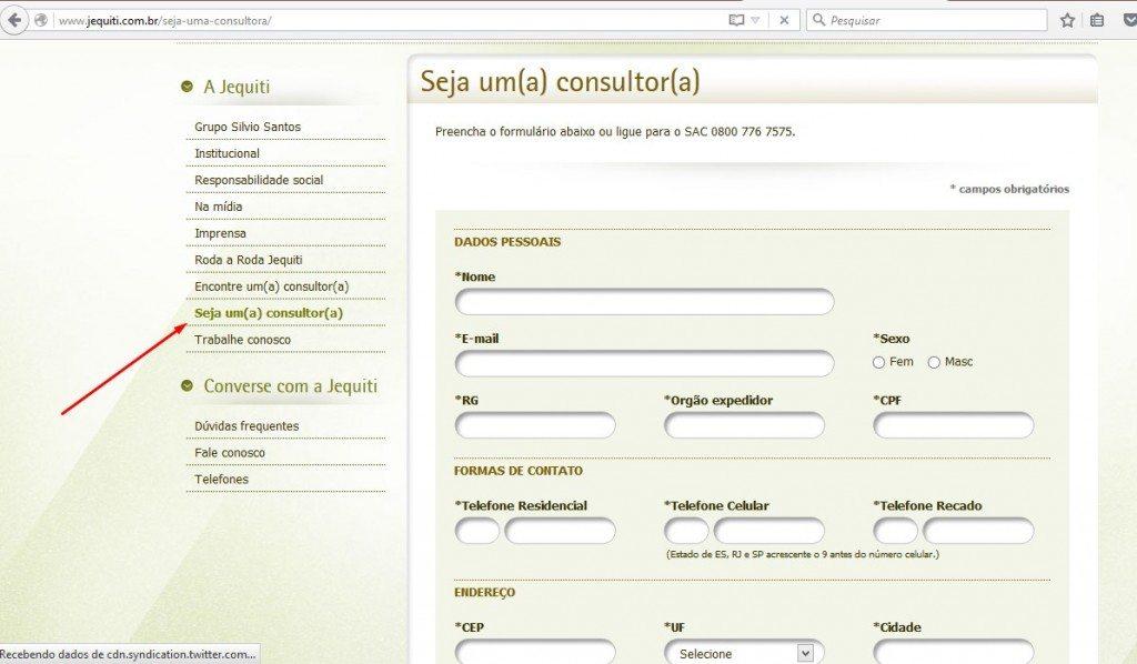 O cadastro como consultora jequiti é feito no próprio site, simples e rápido